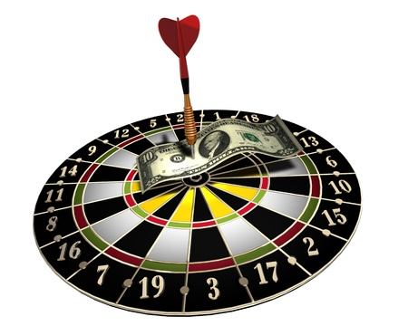 3d illustration of a target, one colored dart and 10 dollars on white background Stock Illustration - 9008784