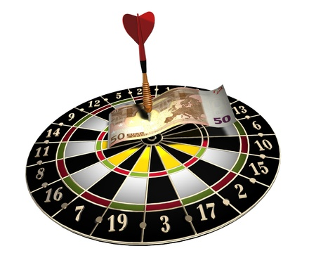 3d illustration of a target, one colored dart and 50 euro on white background Stock Photo