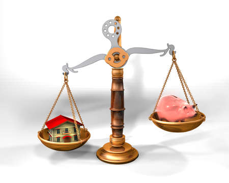 3d illustration of a scale with house and piggy bank