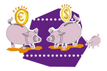 illustration of two piggy bank and coins