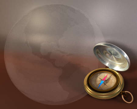 Opened compass on metallic background and bubble globe