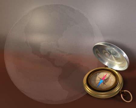 Opened compass on metallic background and bubble globe Stock Photo - 9122784