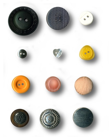 Image of buttons series on white background photo