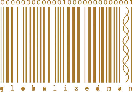 Illustration of concept bar code. Dna helix between bars