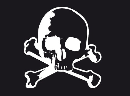 Vector illustration of Skull and cross bones (variant) Vector