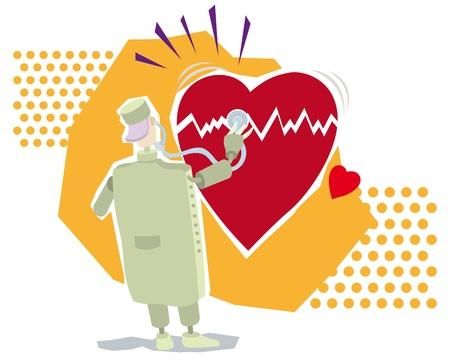 Vector illustration of a doctor examining a big broken heart Vector