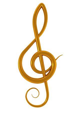 clave de sol: Ilustraci�n 3D de una clave de agudos dorada sobre fondo blanco