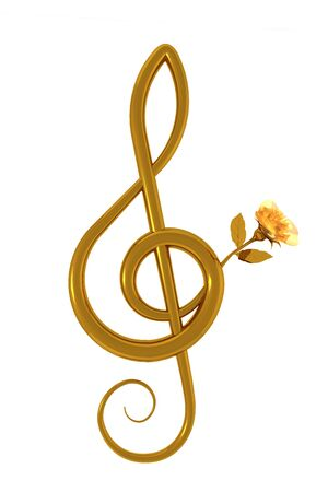 treble g clef: 3d illustration of a treble clef with a yellow rose over white background