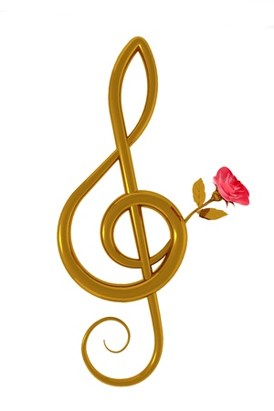 3d illustration of a treble clef with a pink rose over white background Stock Photo