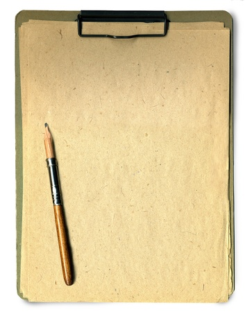 Note pad and pencil on white background