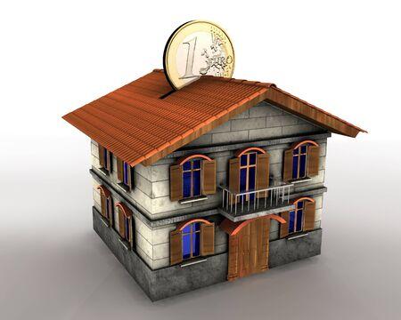 investment real state: Ilustraci�n 3D de casa de cuadro de dinero con monedas de euro