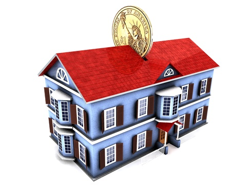 investment real state: Ilustraci�n 3D de casa de cuadro de dinero con monedas de d�lar