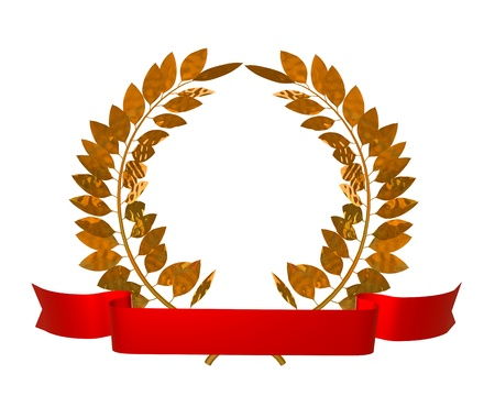 3d illustration of a golden laurel wreath and red ribbon