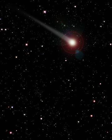 2d Illustration of comet against starry sky