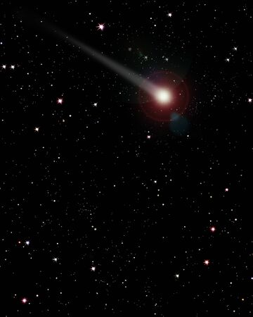 pulsar: 2d Illustration of comet against starry sky