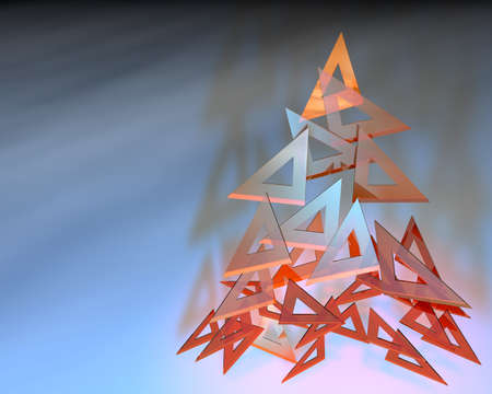 composing: 3d illustration of triangle rulers composing a christmas tree Stock Photo