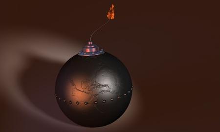 3d illustration of round bomb engraved as earth globe (america) on dark background Stock Illustration - 11152557