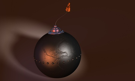 subversion: 3d illustration of round bomb engraved as earth globe (america) on dark background