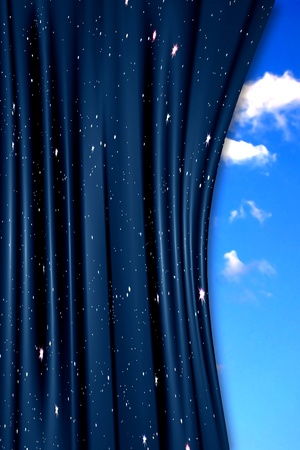 Illustration of a moved starry curtain revealing a blue sky (metaphor for the change of season) illustration