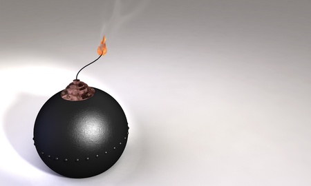 subversion: 3d illustration of round bomb with lit fuse on white  background
