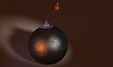 3d illustration of round bomb engraved as earth globe (europe) on dark background illustration