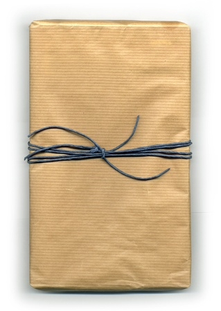 Image of a parcel tied up with strings photo