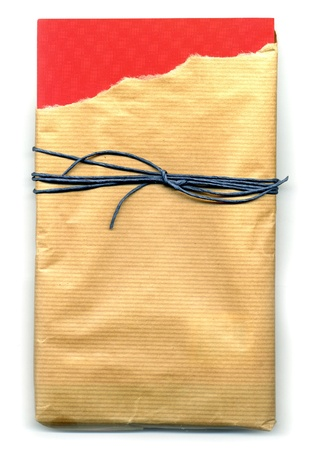 wrest: Image of open parcel tied up with strings (torn paper)