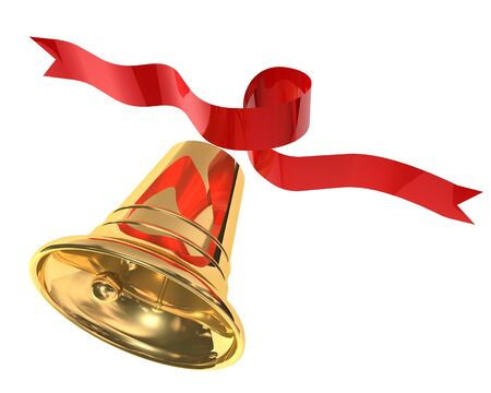3d illustration of Christmas bell with red ribbon on white background illustration