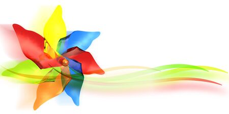 3d illustration of a colored windmill toy
