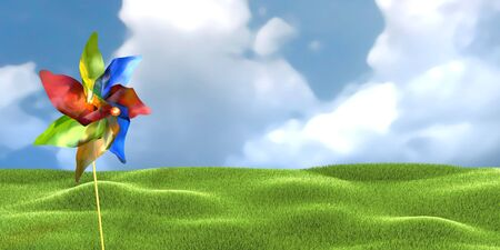 3d illustration of colored windmill toy over cloudy sky and lawn background