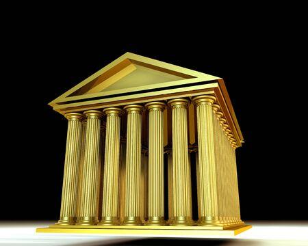 3d temple: 3d illustration of greek temple on black background (stocks exchange building symbol)