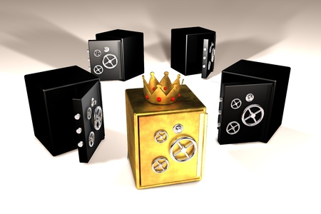 3d illustration of golden and black safes Stock Illustration - 13565333