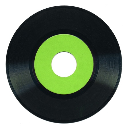 45 rpm vinyl record on white background