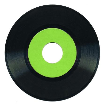 45 rpm vinyl record on white background
