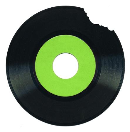 vinyl records: 45 rpm vinyl record bitten on upper right side