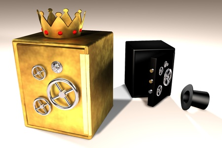 3d illustration of golden and black safes Stock Illustration - 14165437