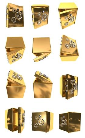 3d illustration of golden safes series Stock Illustration - 14165435