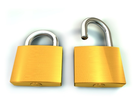 3d illustration of two padlock on white background Stock Illustration - 14249809