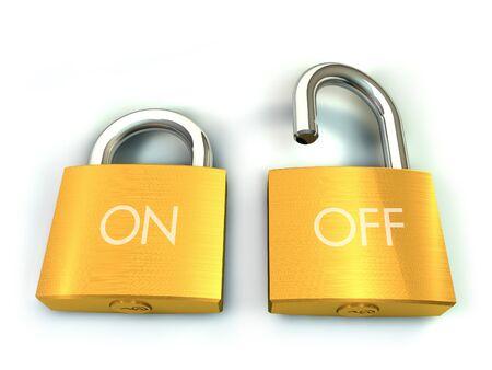 3d illustration of two padlock on white background Stock Illustration - 14249812