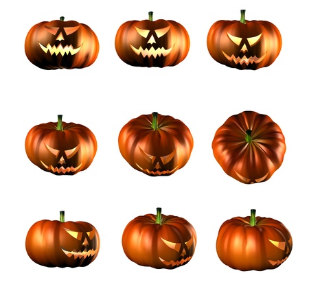 3d illustration of Halloween pumpkins in different setup