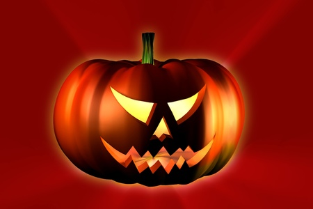 halloween pumpkin on reddish background photo