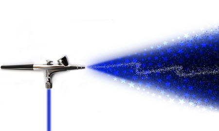 air compressor: Illustration of an airbrush sprikling stars on white background