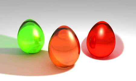 3d illustration of three glass colored easter eggs
