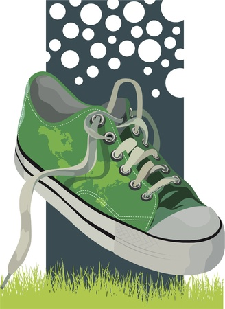 mapped: Illustration of a green sneakers (world mapped) on a meadow