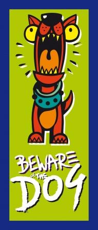 dog bite: illustration of dog warning sign plate (comics)