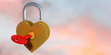 3d illustration of heart shape padlock  and key, over colored background