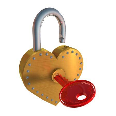 3d illustration of heart shape padlock  and key, over white background Stock Illustration - 17885612