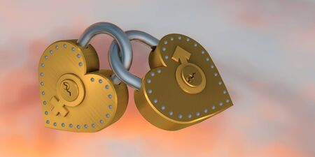 3d illustration of two heart shape padlock over colored background Stock Illustration - 17885610