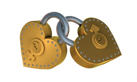 3d illustration of two heart shape padlock over white background Stock Illustration - 17885558