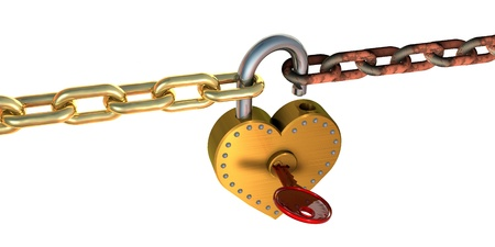 rusty padlock: 3d illustration of heart shape padlock and chains, over white background